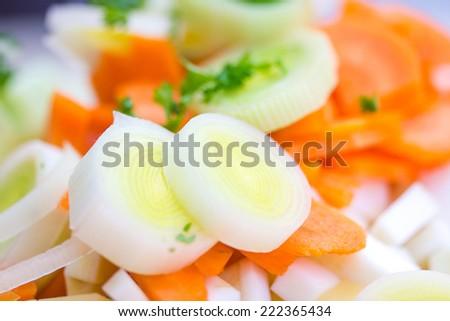 Closeup of sliced leek and carrot - stock photo