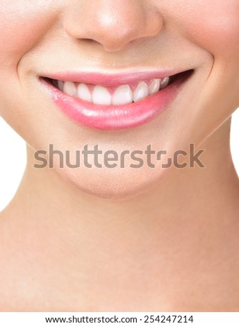 closeup of smile with white healthy teeth - stock photo