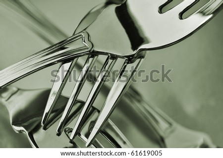 closeup of some forks in black and white - stock photo