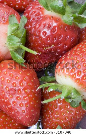 Closeup of some fresh strawberries