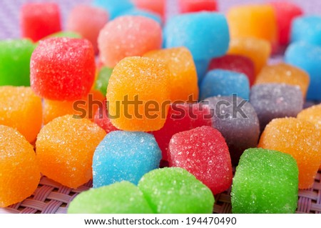 closeup of some gumdrops of different colors