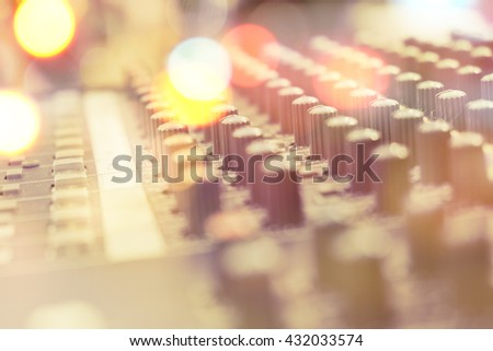 Closeup of sound mixed controller - stock photo