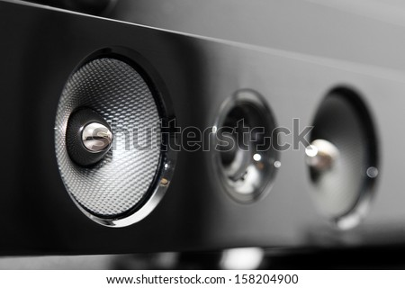 closeup of soundbar speaker - stock photo