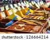 Closeup of spices on sale market. Turkey, Antalya - stock photo