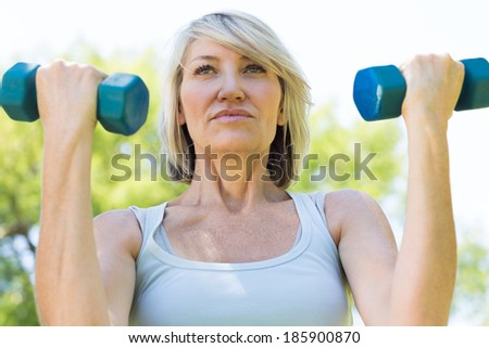 Closeup of sporty woman lifting dumbbells in the park - stock photo