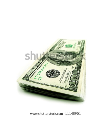 Closeup of stack of hundred dollar bills isolated on white background - stock photo