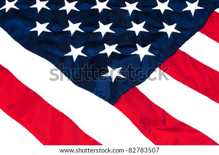 Closeup of stars and stripes on American flag. - stock photo