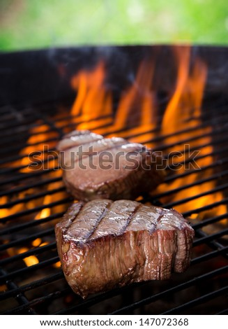 closeup of steaks on a grill  - stock photo