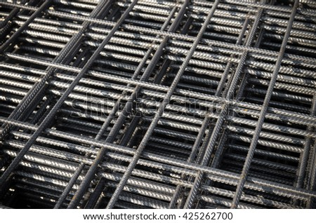 closeup of steel mattress used for concrete rebar in the construction industry - stock photo