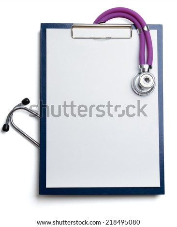 Closeup of stethoscope  a rx prescription isolated on white - stock photo