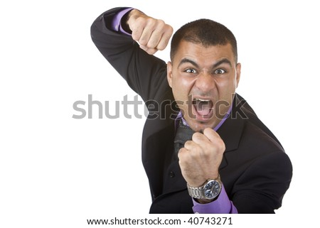 Closeup of stressed businessman which is close to hit somebody - stock photo