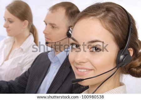 Closeup of successful customer service representatives - stock photo