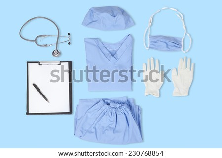 Closeup of surgeon uniform with a stethoscope, clipboard, gloves, mask, and hat - stock photo
