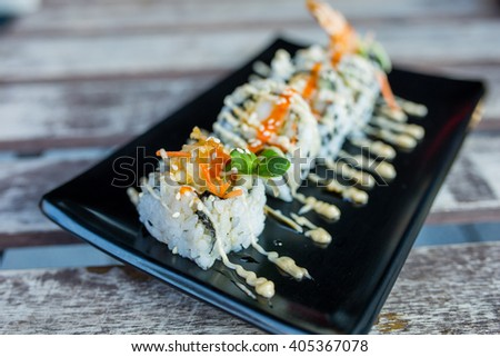 closeup of sushi california roll. - stock photo