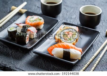 Futomaki stock photos illustrations and vector art