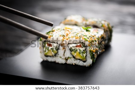 closeup of sushi rolls with vegetable filling