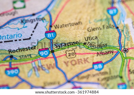 Closeup of Syracuse on a geographical map. - stock photo