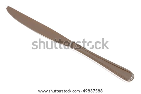 Closeup of table knife isolated on white background