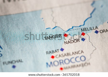 Closeup of Tanger, Morocco on a political map of Africa. - stock photo