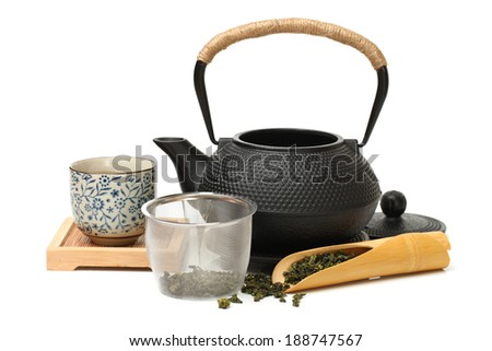 Closeup of tea set on white background
