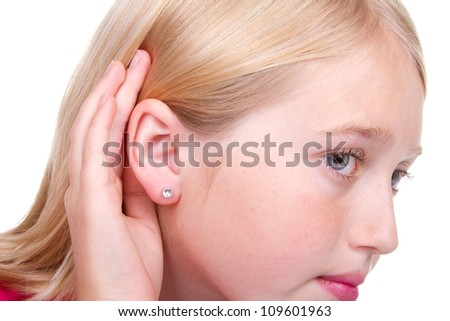 Closeup of teens ear, hand to ear listening isolated on white