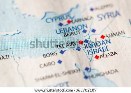 Closeup tel aviv israel on political stock photo 365702189 closeup of tel aviv israel on a political map of middle east gumiabroncs Choice Image