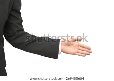 Closeup of Thai business male hand in hand shake gesture isolated on white