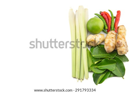 Closeup of Thai ingredients, galangal, lime, lemongrass,lemon, chilli and lime leaves for tom yum food, Thai food popular - stock photo
