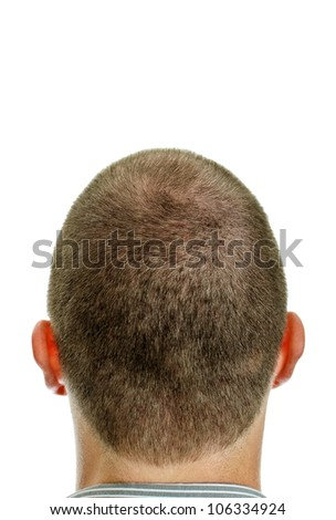 Closeup of the back of mans head. Isolated on white. - stock photo