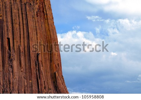 Closeup of the basalt stone of the Devils Tower National Monument in Wyoming, USA, at sunset. - stock photo