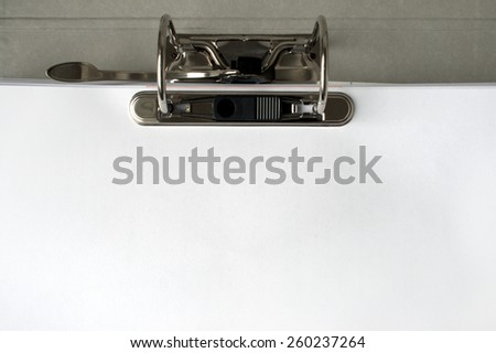 Closeup of the binder section of a ring binder or file folder as commonly used in offices - stock photo