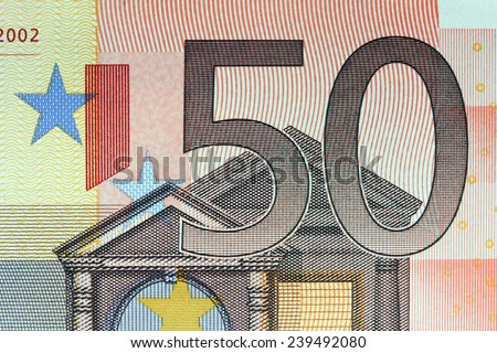 Closeup of the Euro currency money note - stock photo