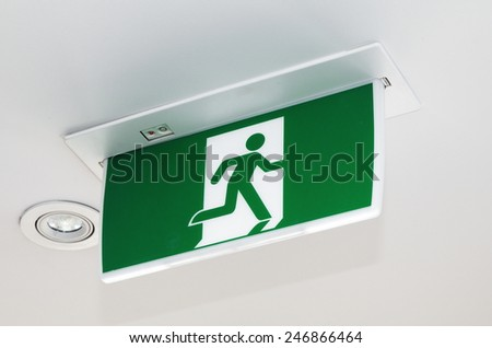 closeup of the exit sign