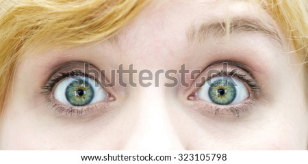 closeup of the eyes of blond woman - stock photo