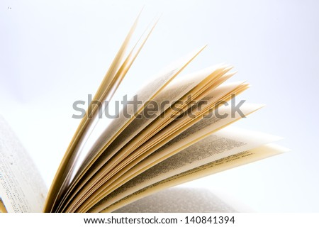 Closeup of the fanned pages of an antique book against white background