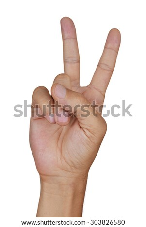 closeup of the hand of a young caucasian man giving a V sign on a white background - stock photo