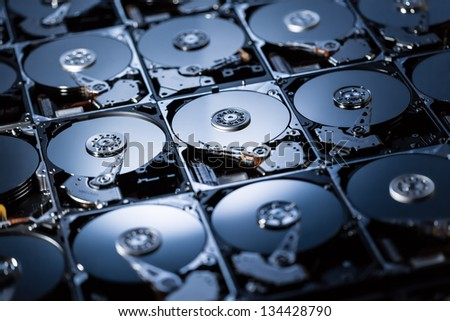 Closeup of the inside of harddrives