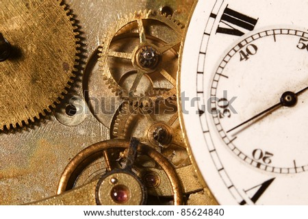Closeup of the interlocking gears of a pocket watch