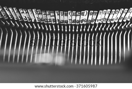 closeup of the letters on an old typewriter