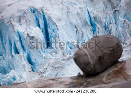 Closeup of the Nigardsbreen glacier in Norway - stock photo