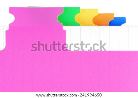 closeup of the notebook with color tabs  - stock photo