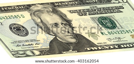 closeup of the obverse sides of the banknote in a twenty dollars isolated on white with Clipping Path.