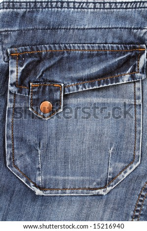 Closeup of the pocket of blue jeans