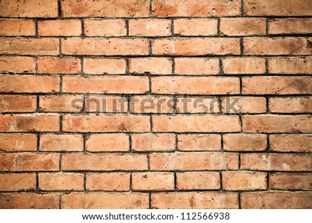 closeup of the red brick wall texture background - stock photo
