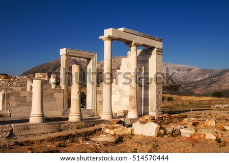 Closeup of the ruins of temple of Demeter on Naxos island, Greece at sunset