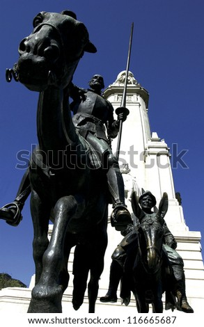 Closeup of the statue of Don Quixote and Sancho Panza at Cervantes plaza in Madrid
