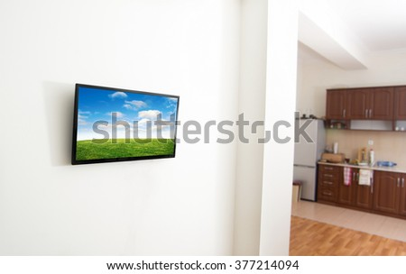 closeup of the tv screen in apartment - stock photo