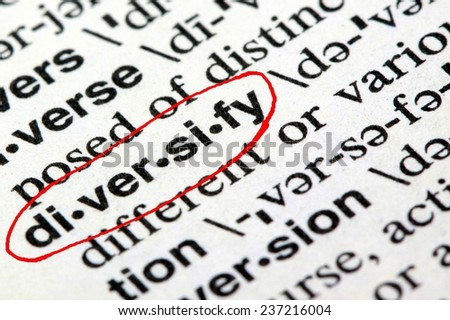 Closeup of the word diversify in the English dictionary - stock photo