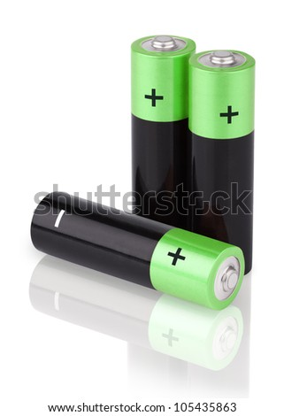 Closeup of three AA batteries isolated on white background