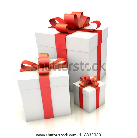 Closeup of three white gift boxes with red ribbon on white floor.White background